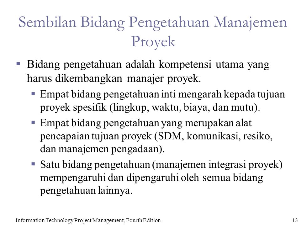 Information Technology Project Management, Fourth Edition13 Sembilan Bidang Pengetahuan Manajemen Proyek  Bidang pengetahuan adalah kompetensi utama