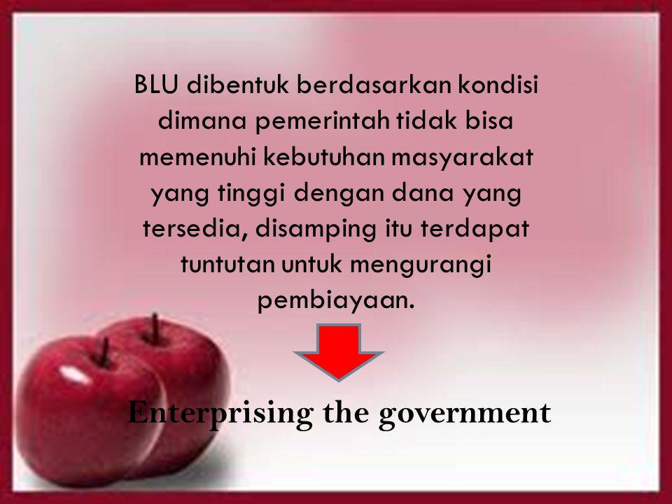 BLU dibentuk berdasarkan kondisi dimana pemerintah tidak bisa memenuhi kebutuhan masyarakat yang tinggi dengan dana yang tersedia, disamping itu terdapat tuntutan untuk mengurangi pembiayaan.