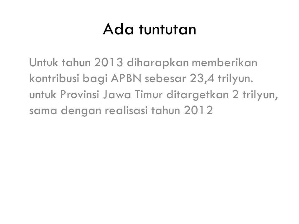 Ada tuntutan Untuk tahun 2013 diharapkan memberikan kontribusi bagi APBN sebesar 23,4 trilyun.