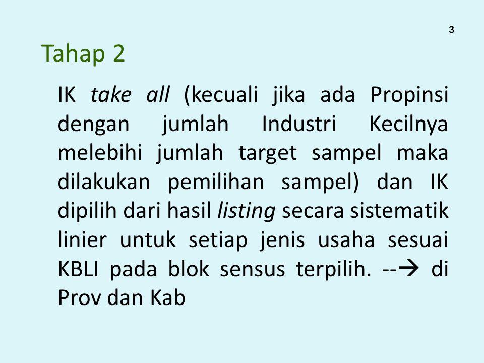 Tahap 2 IK take all (kecuali jika ada Propinsi dengan jumlah Industri Kecilnya melebihi jumlah target sampel maka dilakukan pemilihan sampel) dan IK d