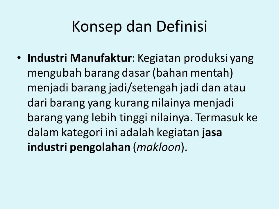 Konsep dan Definisi Industri Manufaktur: Kegiatan produksi yang mengubah barang dasar (bahan mentah) menjadi barang jadi/setengah jadi dan atau dari b