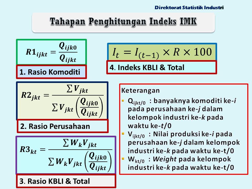 1. Rasio Komoditi 2. Rasio Perusahaan 3. Rasio KBLI & Total riDirektorat Statistik Industri 4. Indeks KBLI & Total