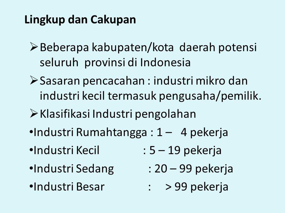 Lingkup dan Cakupan  Beberapa kabupaten/kota daerah potensi seluruh provinsi di Indonesia  Sasaran pencacahan : industri mikro dan industri kecil te
