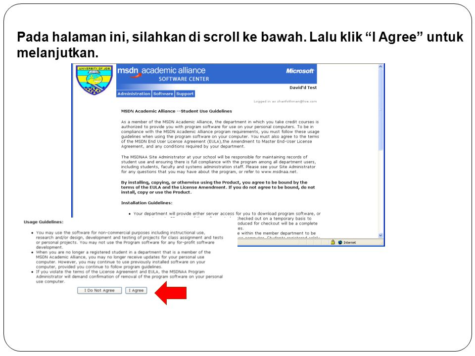 Pada halaman ini, silahkan di scroll ke bawah. Lalu klik I Agree untuk melanjutkan.