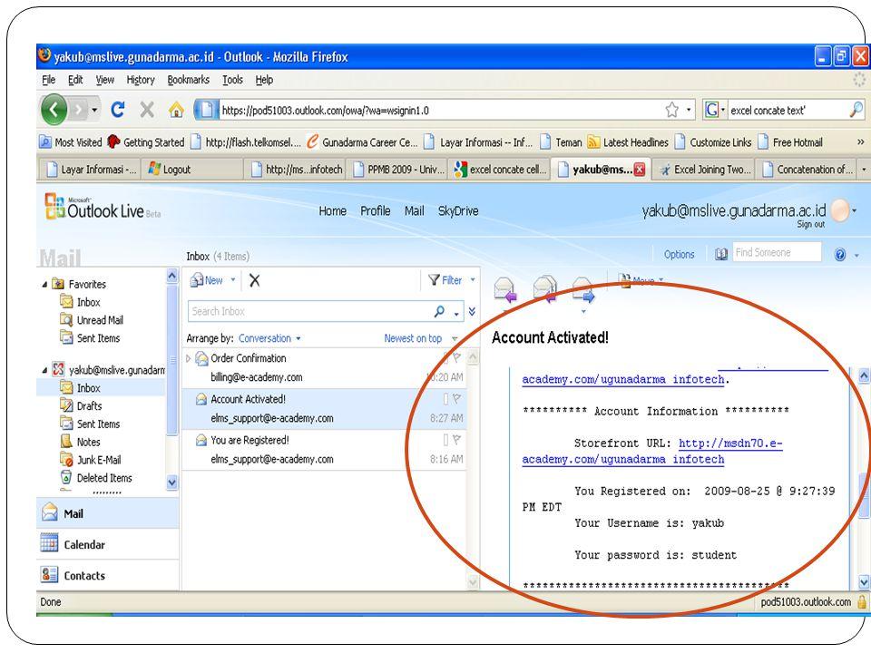 Kunjungi link portal ELMS yang diberikan di inbox email pada mslive.gunadarma.ac.id.