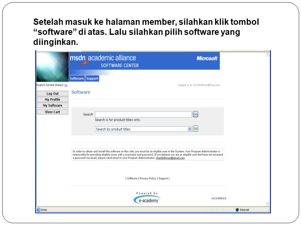 Setelah masuk ke halaman member, silahkan klik tombol software di atas.