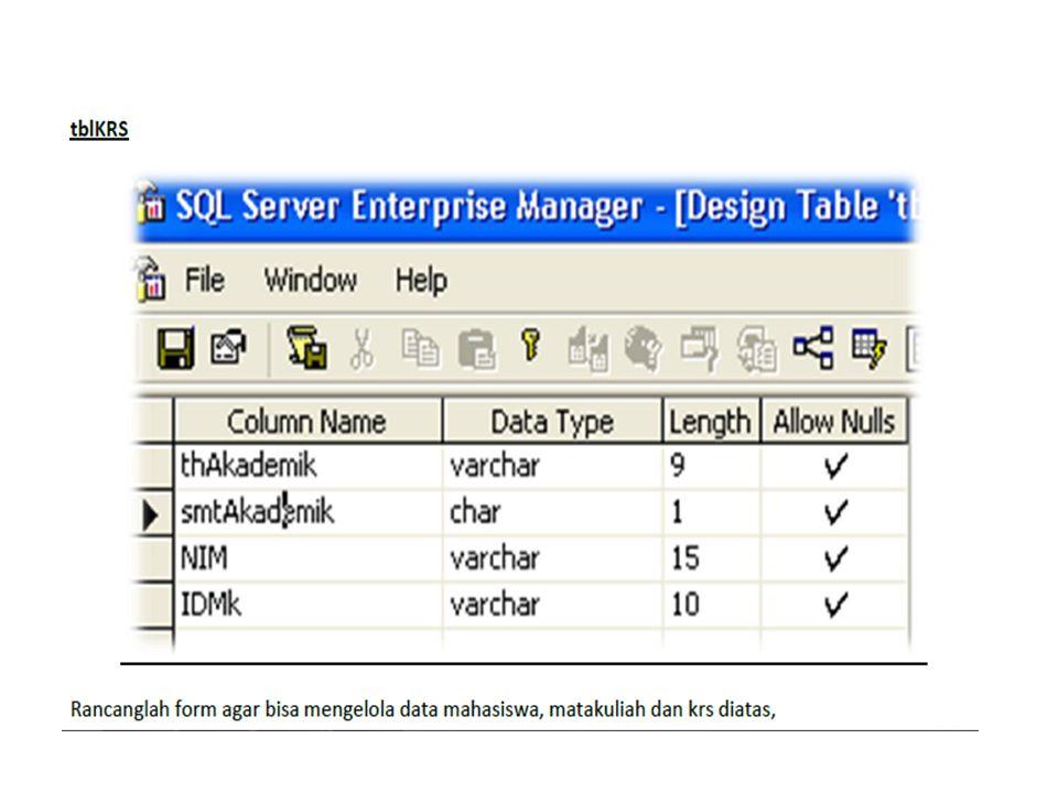 Bukalah Editor Crystal report Melalui Menu atau Desktop anda kemudian : 1.Pilih Using The Report Expert 2.Pada menu pilihan, silahkan pilih Standart 3.Kilik tombol OK Klik Tombol Database 1.Koneksi yang dipakai adalah ODBC (Open Database Conectivity).