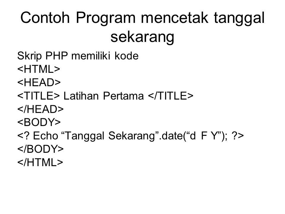 Contoh Program mencetak tanggal sekarang Skrip PHP memiliki kode Latihan Pertama