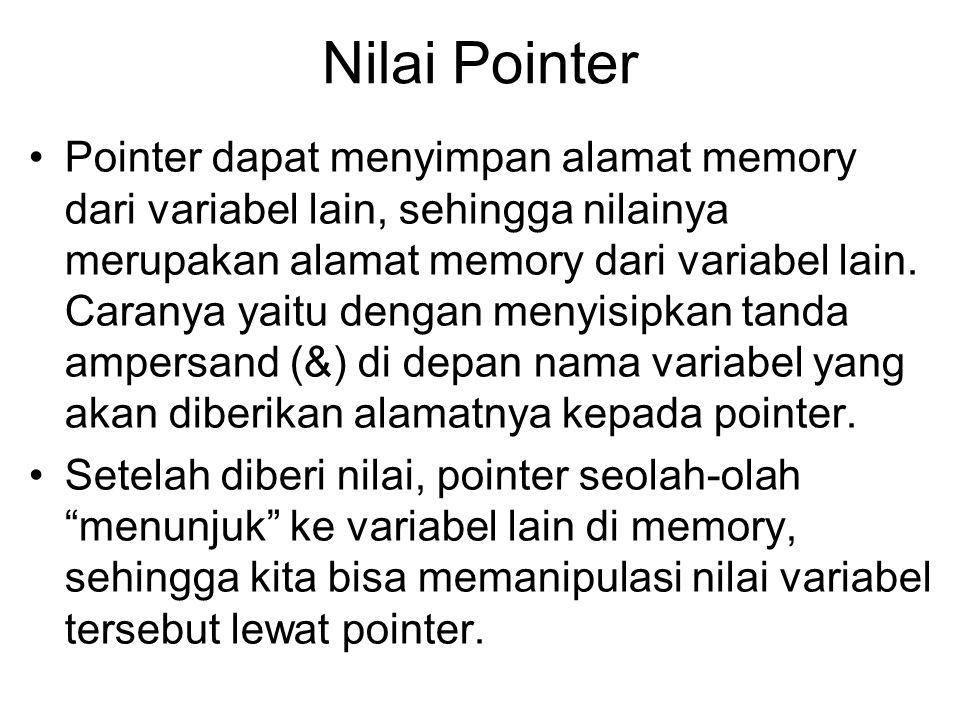 Nilai Pointer Pointer dapat menyimpan alamat memory dari variabel lain, sehingga nilainya merupakan alamat memory dari variabel lain.