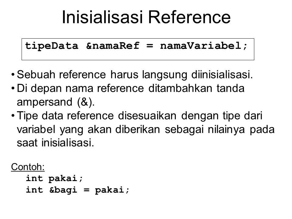 Inisialisasi Reference tipeData &namaRef = namaVariabel; Sebuah reference harus langsung diinisialisasi.