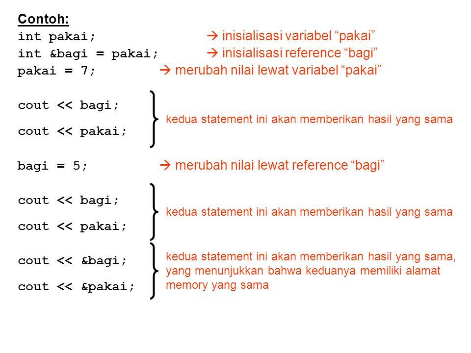 Contoh: int pakai;  inisialisasi variabel pakai int &bagi = pakai;  inisialisasi reference bagi pakai = 7;  merubah nilai lewat variabel pakai cout << bagi; cout << pakai; bagi = 5;  merubah nilai lewat reference bagi cout << bagi; cout << pakai; cout << &bagi; cout << &pakai; kedua statement ini akan memberikan hasil yang sama kedua statement ini akan memberikan hasil yang sama, yang menunjukkan bahwa keduanya memiliki alamat memory yang sama