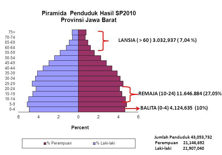 Jumlah Penduduk 43,053,732 Perempuan 21,146,692 Laki-laki 21,907,040 BALITA (0-4) 4,124,635 (10%) REMAJA (10-24) 11.646.884 (27,05%) LANSIA ( > 60 ) 3.032,937 ( 7,04 %)