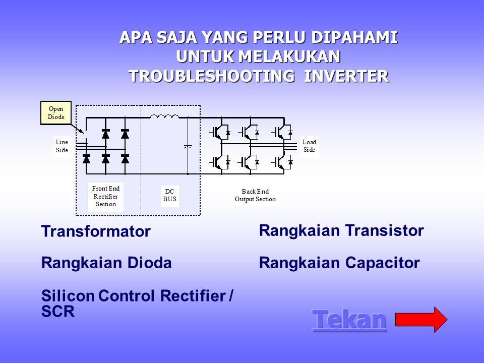 APA SAJA YANG PERLU DIPAHAMI UNTUK MELAKUKAN TROUBLESHOOTING INVERTER Transformator Rangkaian Dioda Silicon Control Rectifier / SCR Rangkaian Transistor Rangkaian Capacitor