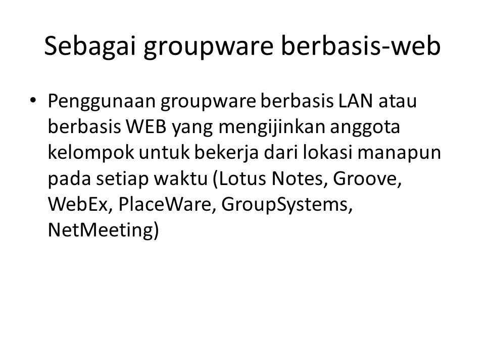 Sebagai groupware berbasis-web Penggunaan groupware berbasis LAN atau berbasis WEB yang mengijinkan anggota kelompok untuk bekerja dari lokasi manapun