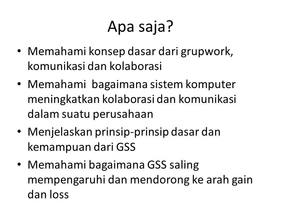 GSS adalah kombinasi semua perangkat keras dan lunak yang meningkatkan kerja kelompok Gss dapat dipandang sebagai aktifitas kelompok yang umum yang dapat memanfaatkan dukungan berbasis komputer Pada awal 1990-an istilah GSS ditetapkan untuk menggantikan GDSS, karena peneliti mengidentifikasikan bahwa teknologi komputasi kolaboratif itu lebih dari sekedar mendukung mengambil keputusan