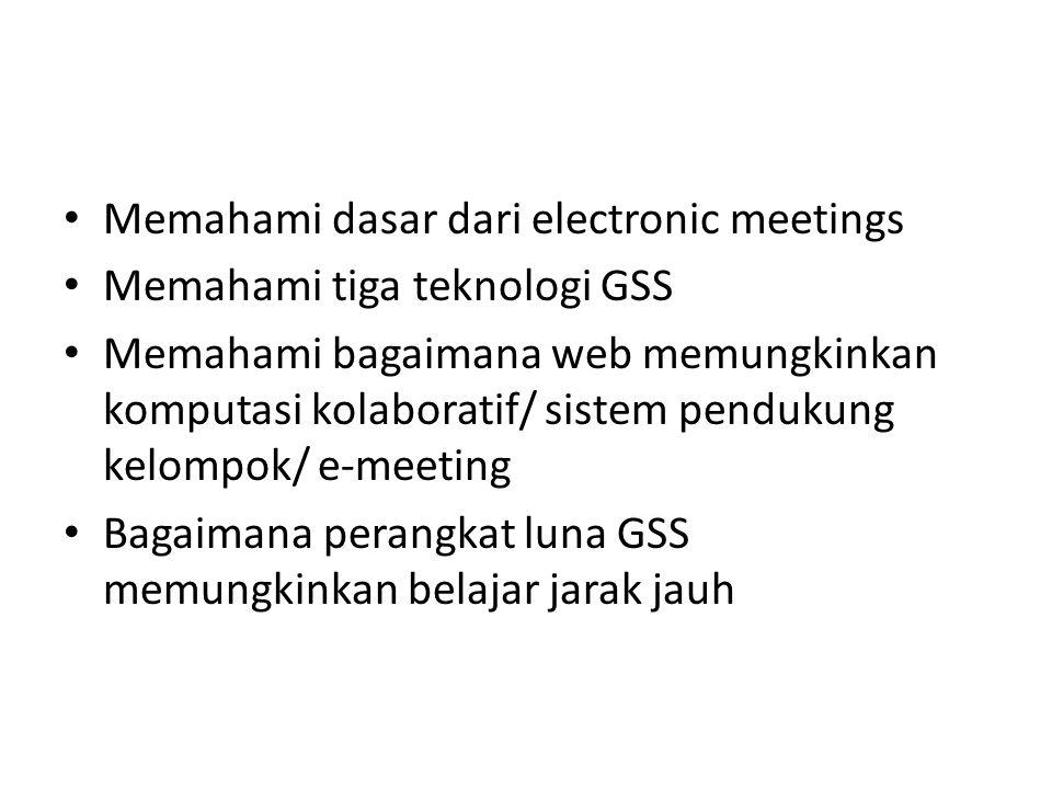 Teknologi GSS Tiga pilihan teknologi GSS: 1.Dalam ruang keputusan bertujuan-khusus 2.Pada suatu fasilitas multiguna 3.Sebagai groupware berbasis-web dengan klien yang berjalan di mana saja anggota kelompok berada