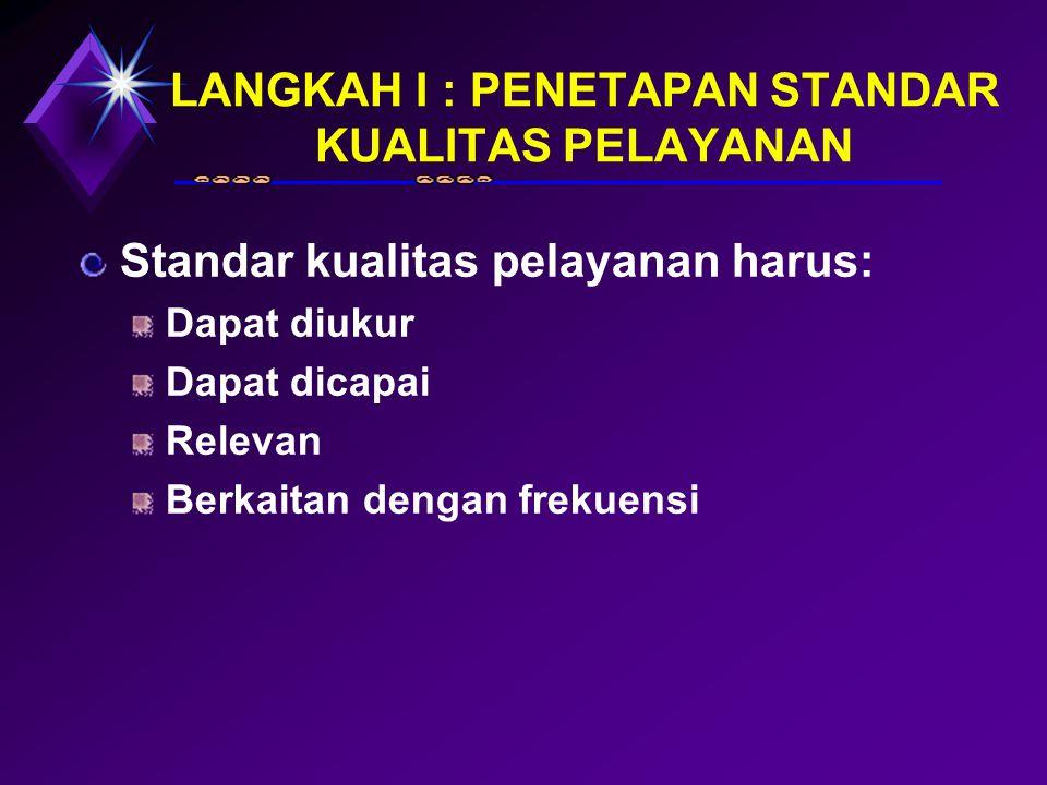 LANGKAH I : PENETAPAN STANDAR KUALITAS PELAYANAN Standar kualitas pelayanan harus: Dapat diukur Dapat dicapai Relevan Berkaitan dengan frekuensi