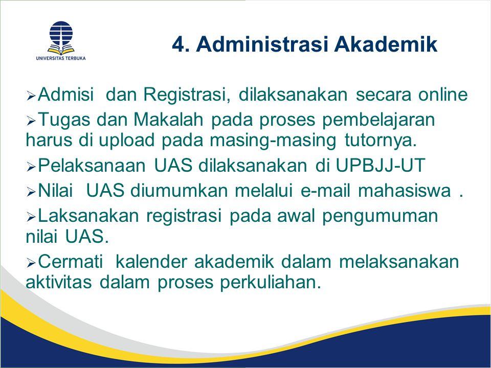 4. Administrasi Akademik  Admisi dan Registrasi, dilaksanakan secara online  Tugas dan Makalah pada proses pembelajaran harus di upload pada masing-