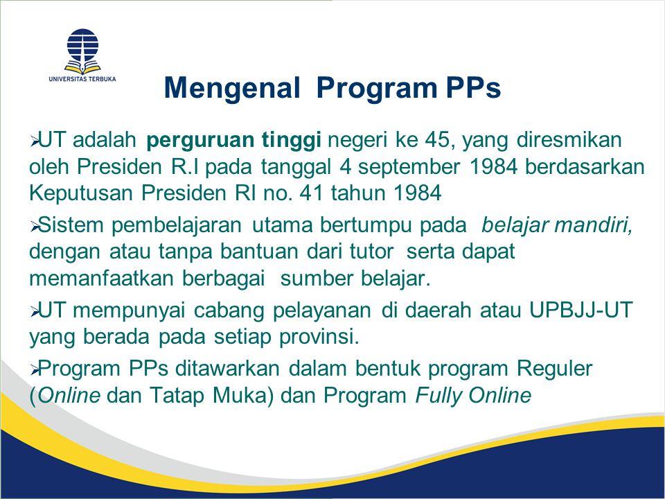 Mengenal Program PPs  UT adalah perguruan tinggi negeri ke 45, yang diresmikan oleh Presiden R.I pada tanggal 4 september 1984 berdasarkan Keputusan