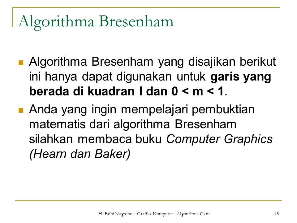 H. Edhi Nugroho - Grafika Komputer - Algorithma Garis 18 Algorithma Bresenham Algorithma Bresenham yang disajikan berikut ini hanya dapat digunakan un