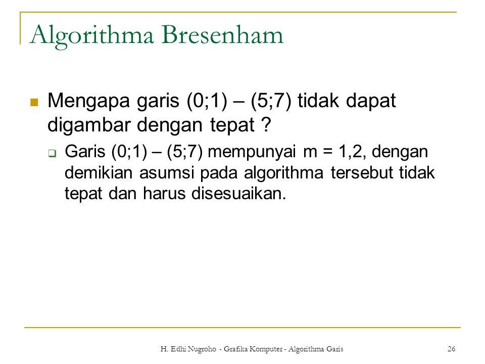 H. Edhi Nugroho - Grafika Komputer - Algorithma Garis 26 Algorithma Bresenham Mengapa garis (0;1) – (5;7) tidak dapat digambar dengan tepat ?  Garis