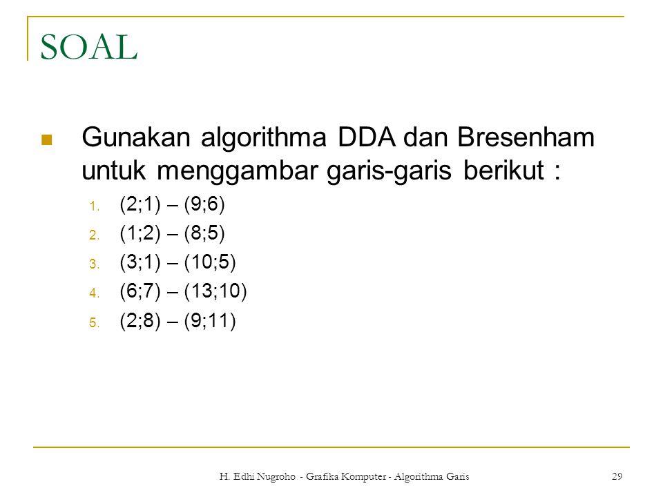 H. Edhi Nugroho - Grafika Komputer - Algorithma Garis 29 SOAL Gunakan algorithma DDA dan Bresenham untuk menggambar garis-garis berikut : 1. (2;1) – (