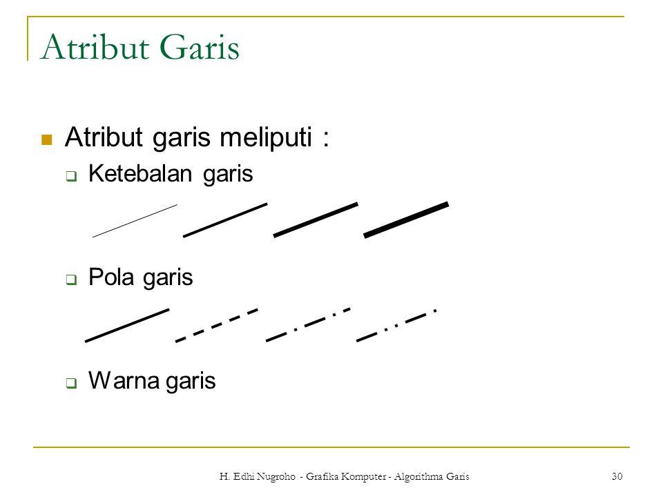 H. Edhi Nugroho - Grafika Komputer - Algorithma Garis 30 Atribut Garis Atribut garis meliputi :  Ketebalan garis  Pola garis  Warna garis