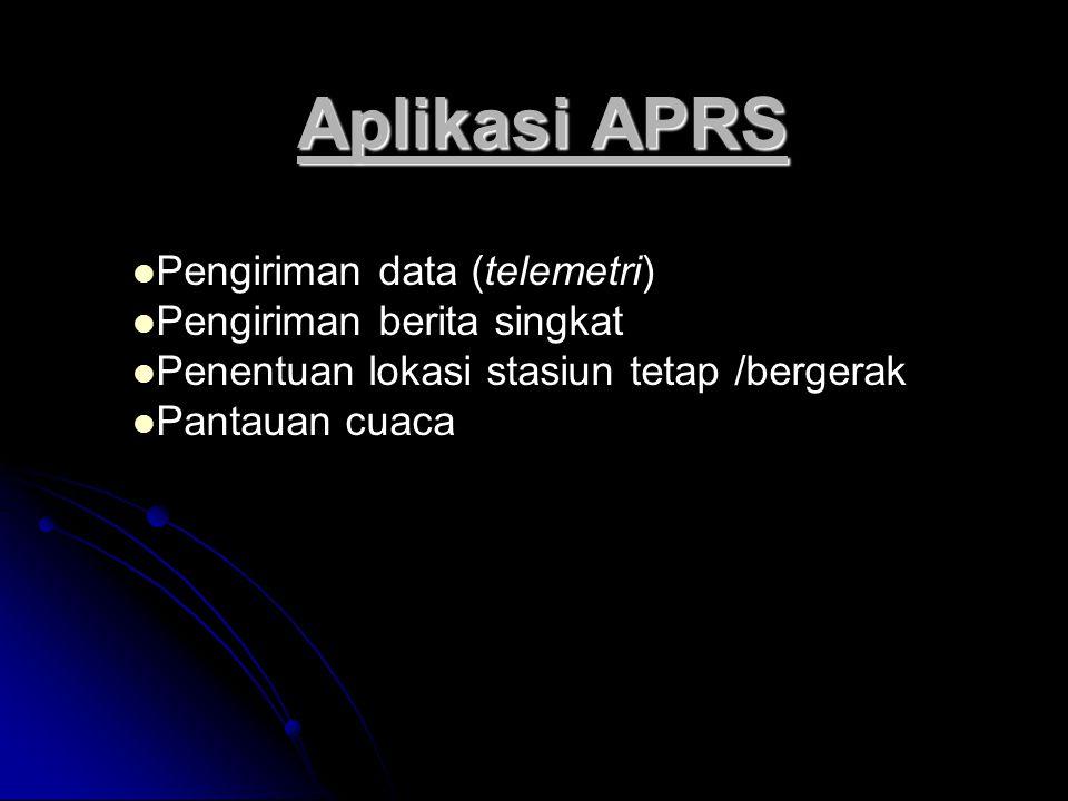 Aplikasi APRS Pengiriman data (telemetri) Pengiriman berita singkat Penentuan lokasi stasiun tetap /bergerak Pantauan cuaca