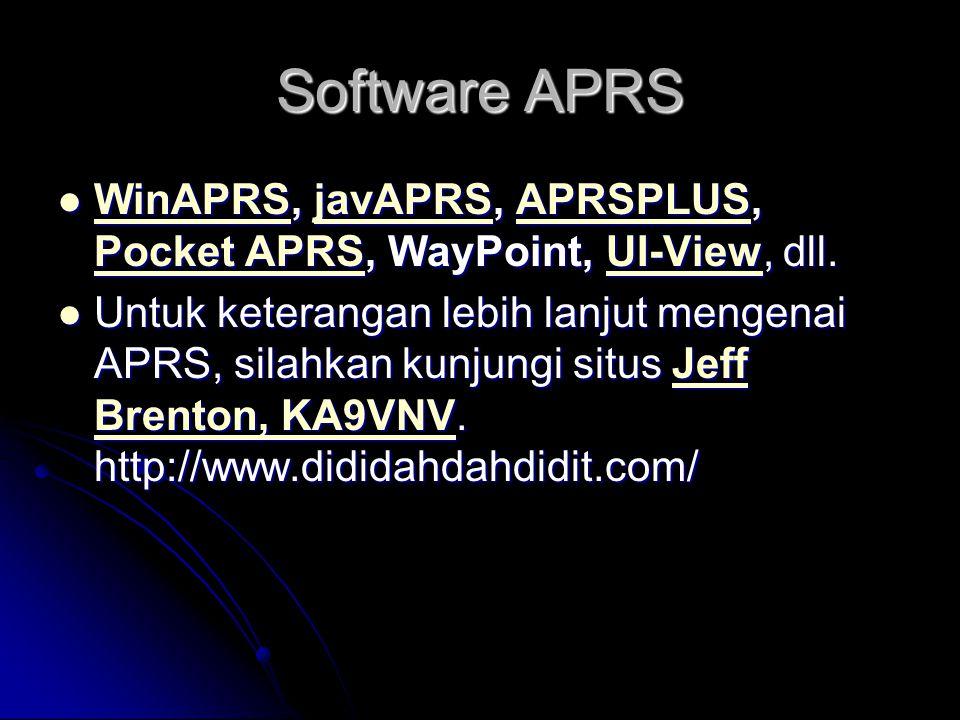 Software APRS WinAPRS, javAPRS, APRSPLUS, Pocket APRS, WayPoint, UI-View, dll. WinAPRS, javAPRS, APRSPLUS, Pocket APRS, WayPoint, UI-View, dll. WinAPR