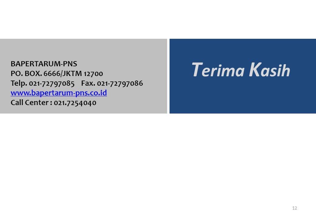 BAPERTARUM-PNS 12 T erima K asih BAPERTARUM-PNS PO. BOX. 6666/JKTM 12700 Telp. 021-72797085 Fax. 021-72797086 www.bapertarum-pns.co.id Call Center : 0
