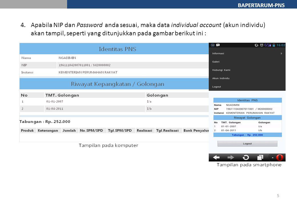 BAPERTARUM-PNS 4.Apabila NIP dan Password anda sesuai, maka data individual account (akun individu) akan tampil, seperti yang ditunjukkan pada gambar berikut ini : 5