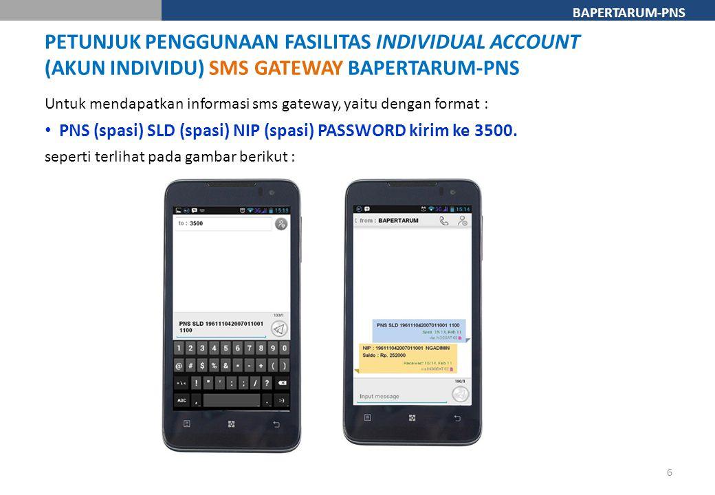 BAPERTARUM-PNS Untuk mendapatkan informasi sms gateway, yaitu dengan format : PNS (spasi) SLD (spasi) NIP (spasi) PASSWORD kirim ke 3500. seperti terl