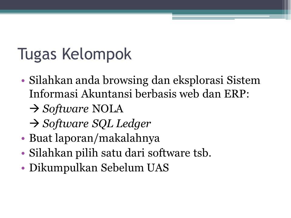 Tugas Kelompok Silahkan anda browsing dan eksplorasi Sistem Informasi Akuntansi berbasis web dan ERP:  Software NOLA  Software SQL Ledger Buat lapor