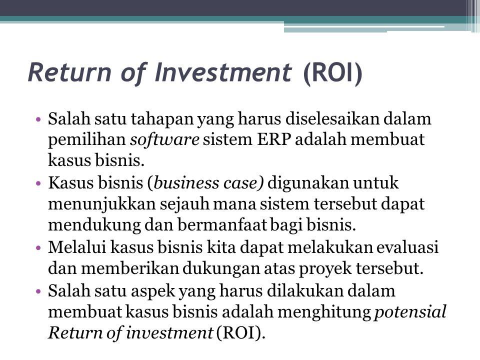 Return of Investment (ROI) Salah satu tahapan yang harus diselesaikan dalam pemilihan software sistem ERP adalah membuat kasus bisnis. Kasus bisnis (b