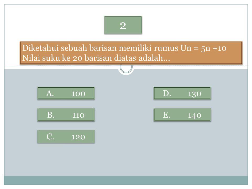 2 2 Diketahui sebuah barisan memiliki rumus Un = 5n +10 Nilai suku ke 20 barisan diatas adalah... Diketahui sebuah barisan memiliki rumus Un = 5n +10