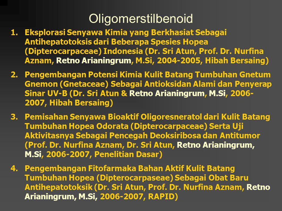 Pemanfaatan oligomerstilbenoid : Antihepatotoksik Antioksidan  penangkap radikal hidroksi, tabir surya, pencegah degradasi 2-deoksiribosa Antikanker