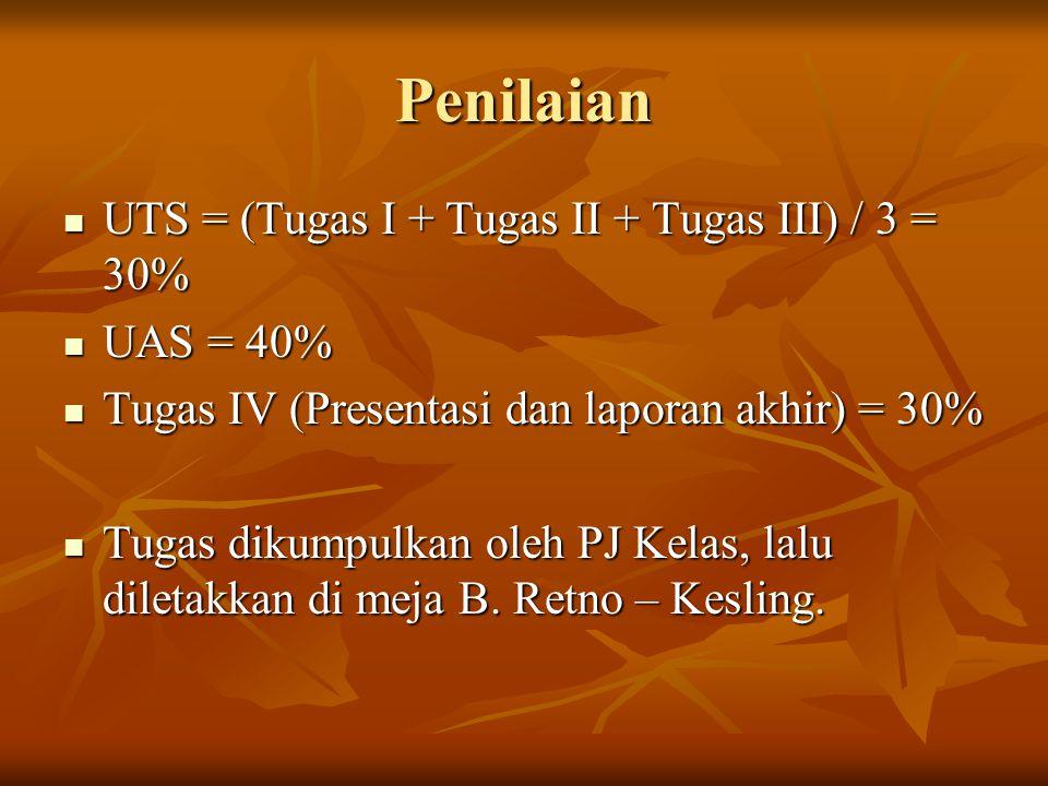 Penilaian UTS = (Tugas I + Tugas II + Tugas III) / 3 = 30% UTS = (Tugas I + Tugas II + Tugas III) / 3 = 30% UAS = 40% UAS = 40% Tugas IV (Presentasi dan laporan akhir) = 30% Tugas IV (Presentasi dan laporan akhir) = 30% Tugas dikumpulkan oleh PJ Kelas, lalu diletakkan di meja B.