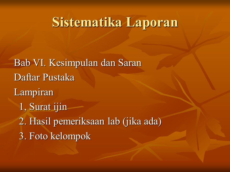 Sistematika Laporan Bab VI.