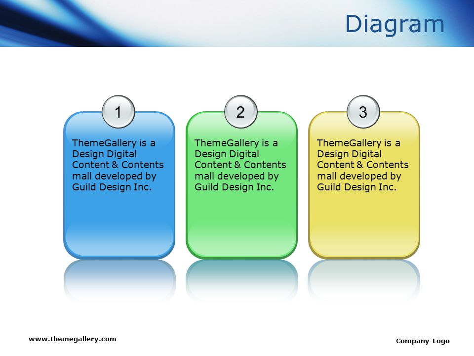 www.themegallery.com Company Logo Diagram 1 ThemeGallery is a Design Digital Content & Contents mall developed by Guild Design Inc. 2 3