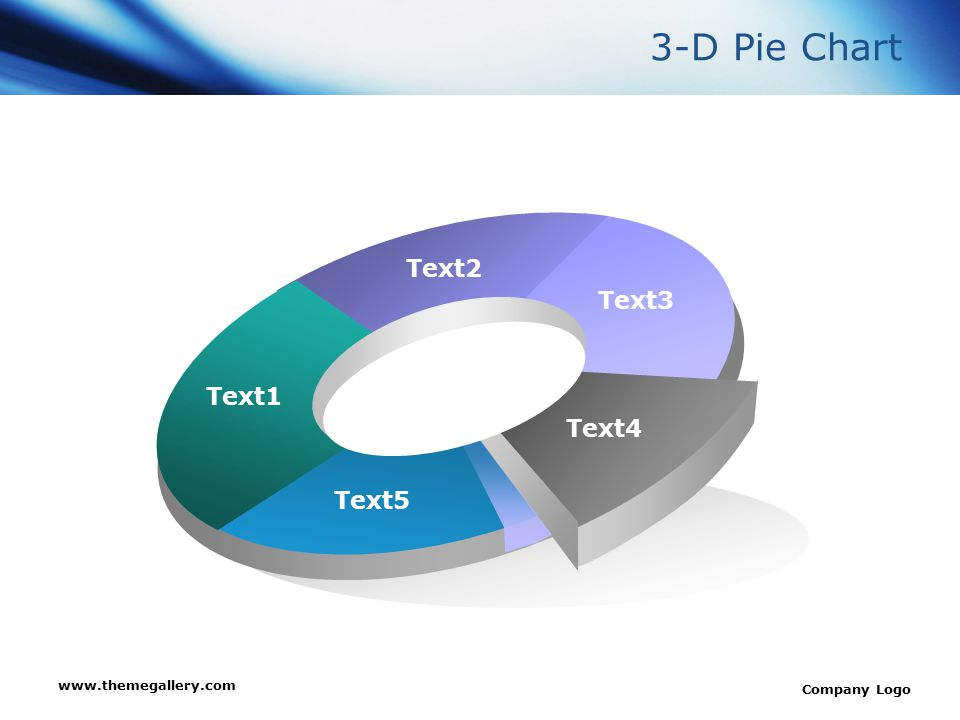 www.themegallery.com Company Logo Text1 Text2 Text3 Text4 Text5 3-D Pie Chart