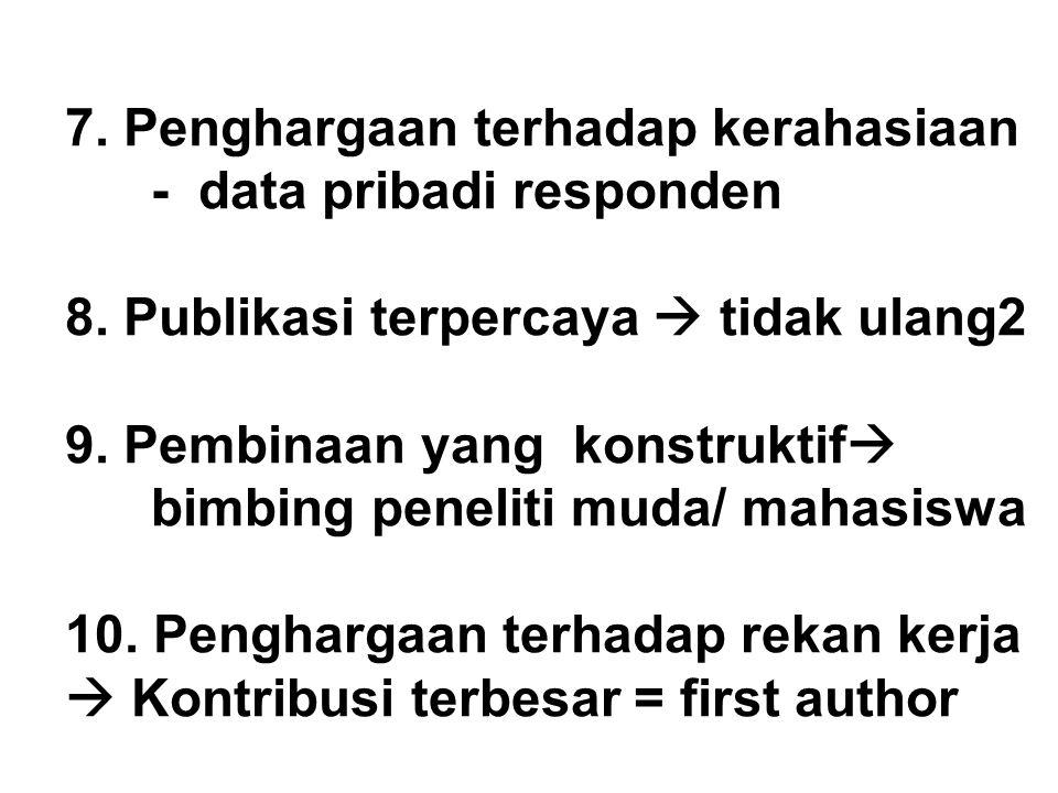 7. Penghargaan terhadap kerahasiaan - data pribadi responden 8. Publikasi terpercaya  tidak ulang2 9. Pembinaan yang konstruktif  bimbing peneliti m