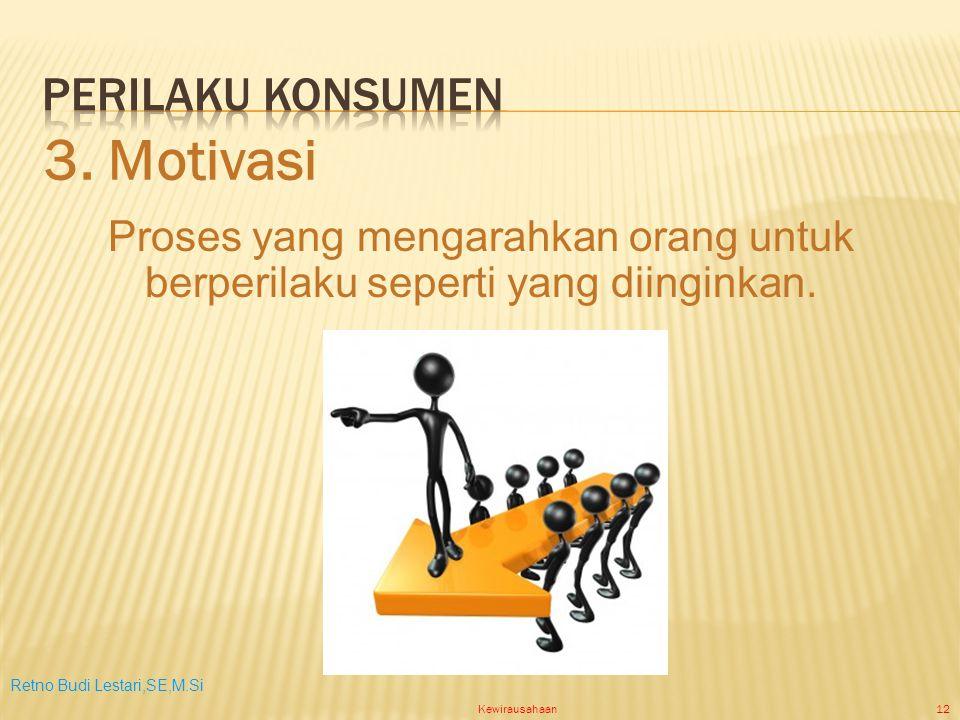 Retno Budi Lestari,SE,M.Si Kewirausahaan12 Proses yang mengarahkan orang untuk berperilaku seperti yang diinginkan.
