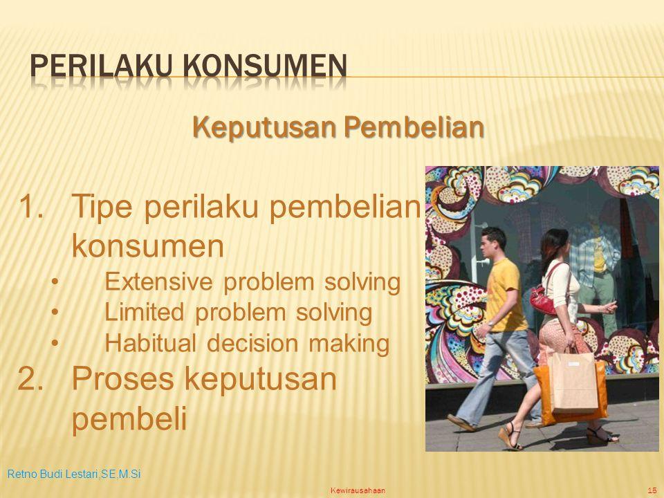 Retno Budi Lestari,SE,M.Si Kewirausahaan15 1.Tipe perilaku pembelian konsumen Extensive problem solving Limited problem solving Habitual decision making 2.Proses keputusan pembeli Keputusan Pembelian