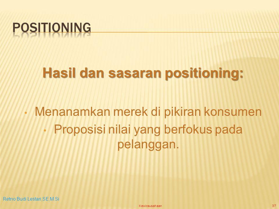 Retno Budi Lestari,SE,M.Si Kewirausahaan37 Hasil dan sasaran positioning: Menanamkan merek di pikiran konsumen Proposisi nilai yang berfokus pada pelanggan.