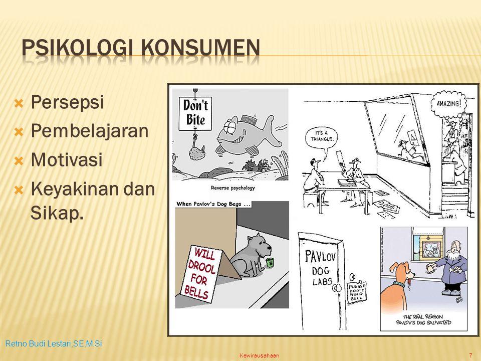 Retno Budi Lestari,SE,M.Si Kewirausahaan7  Persepsi  Pembelajaran  Motivasi  Keyakinan dan Sikap.