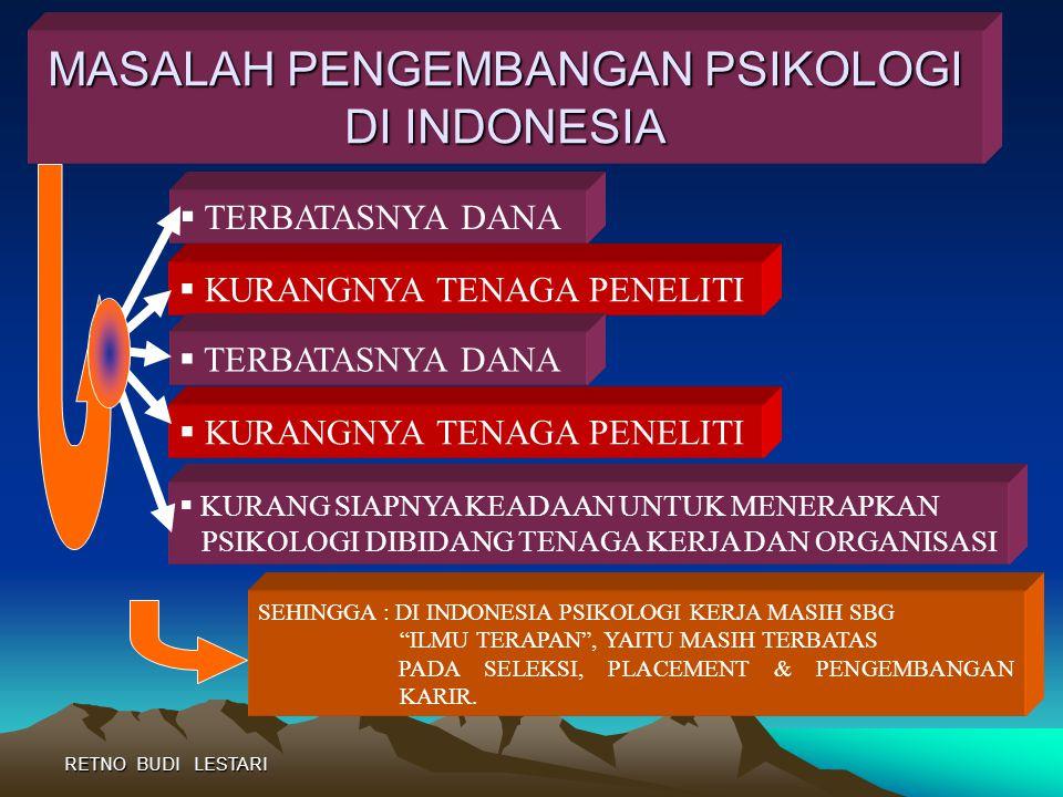 RETNO BUDI LESTARI PSIKOLOGI DI INDONESIA  TH 1950-AN : BALAI PSYCHOTECHNICK DAN PUSAT PSIKOLOGI ANGKATAN DARAT MENGGUNAKAN TES PSIKOLOGI UTK SELEKSI