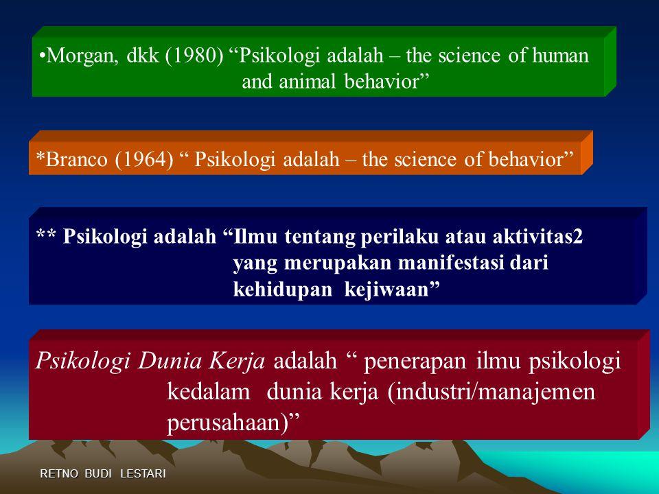RETNO BUDI LESTARI PENGERTIAN PSIKOLOGI A. PENGERTIAN SECARA BAHASA B. DEFINISI SEBAGAI ILMU Psikologi berasal dari istilah bahasa Yunani yaitu Logos