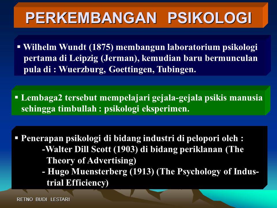 """RETNO BUDI LESTARI Morgan, dkk (1980) """"Psikologi adalah – the science of human and animal behavior"""" Psikologi Dunia Kerja adalah """" penerapan ilmu psik"""
