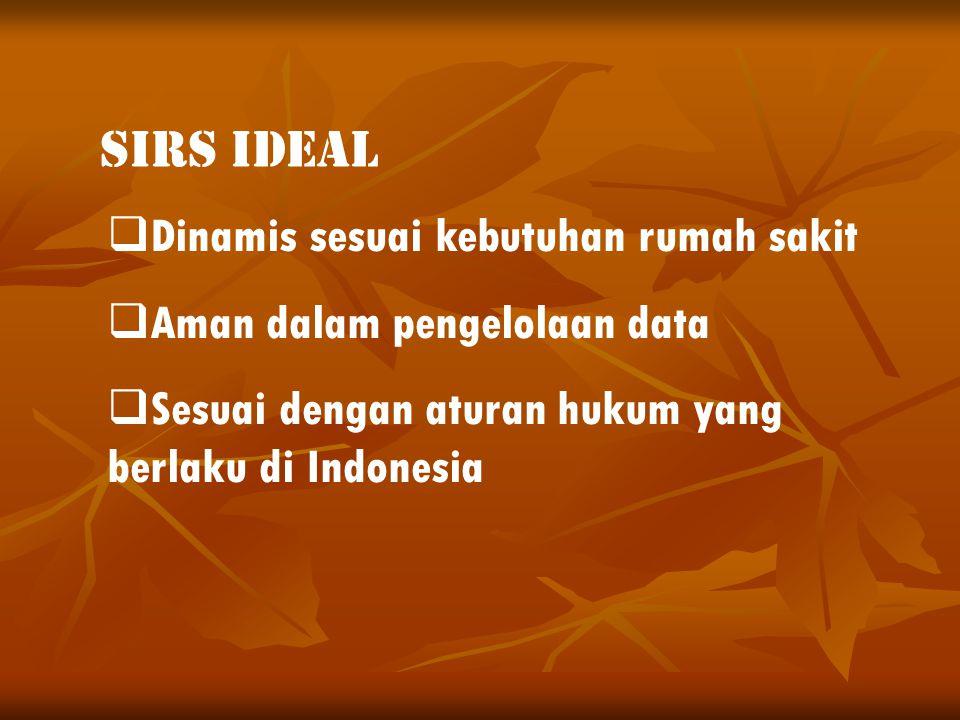  Dinamis sesuai kebutuhan rumah sakit  Aman dalam pengelolaan data  Sesuai dengan aturan hukum yang berlaku di Indonesia SIRS IDEAL
