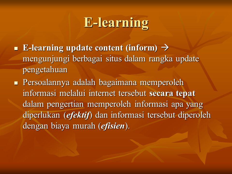 E-learning E-learning update content (inform)  mengunjungi berbagai situs dalam rangka update pengetahuan E-learning update content (inform)  mengunjungi berbagai situs dalam rangka update pengetahuan Persoalannya adalah bagaimana memperoleh informasi melalui internet tersebut secara tepat dalam pengertian memperoleh informasi apa yang diperlukan (efektif) dan informasi tersebut diperoleh dengan biaya murah (efisien).